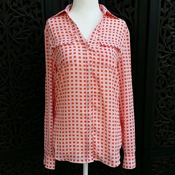 New York Company Tops New York Company Blouse In Peach Orange